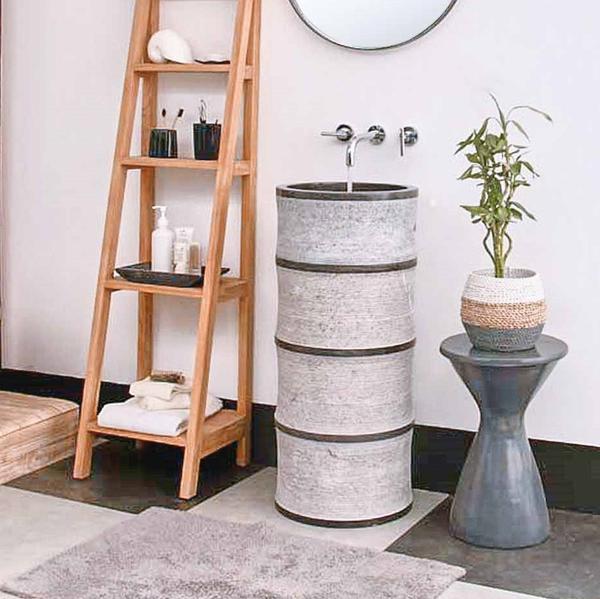 Marmor Waschtisch Säule BAMBOO 50 cm schwarz