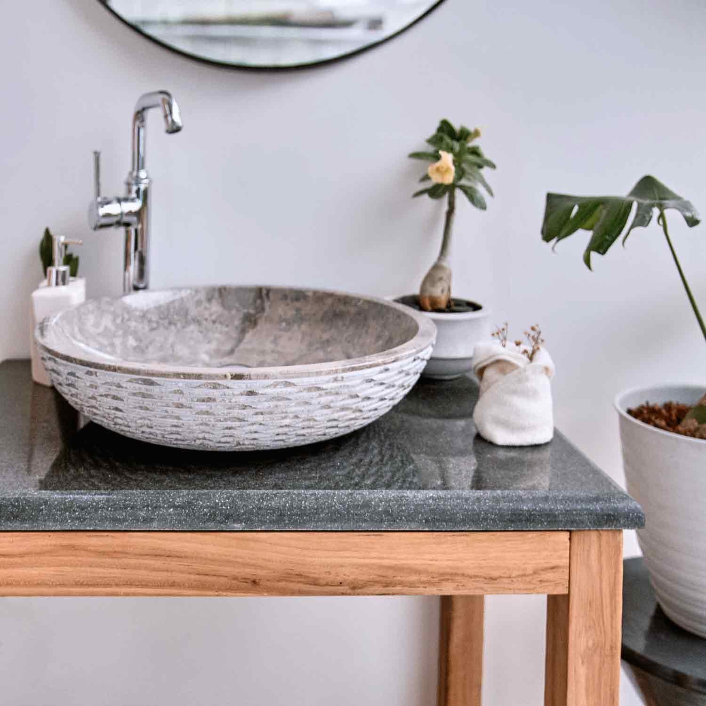 Flußstein Waschtisch-Platte grau 80x50x3 cm