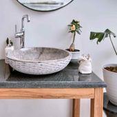 Flußstein Waschtisch-Platte grau 80x50x3 cm Bild 1