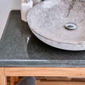 Flußstein Waschtisch-Platte grau 80x50x3 cm Bild 2