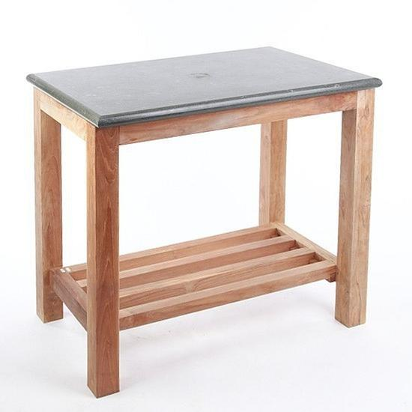 Teak Holz Waschtisch mit Natursteinplatte 80x50x76cm