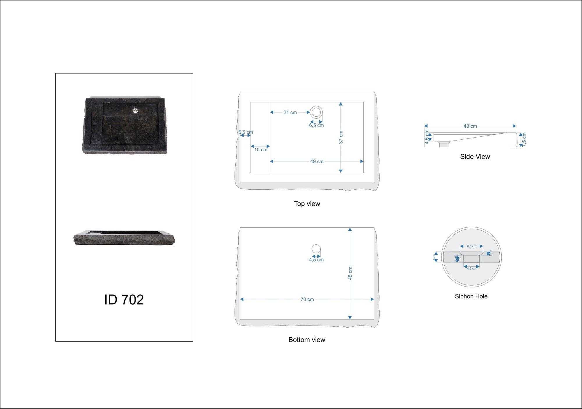 WOHNFREUDEN Marmor Aufsatz-Waschbecken KOTAK 76 cm schwarz eckig Gäste WC