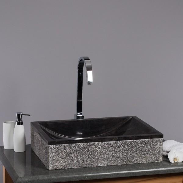 WOHNFREUDEN Naturstein Marmor Waschbecken Perahu 50 Waschtisch gehämmert schwarz