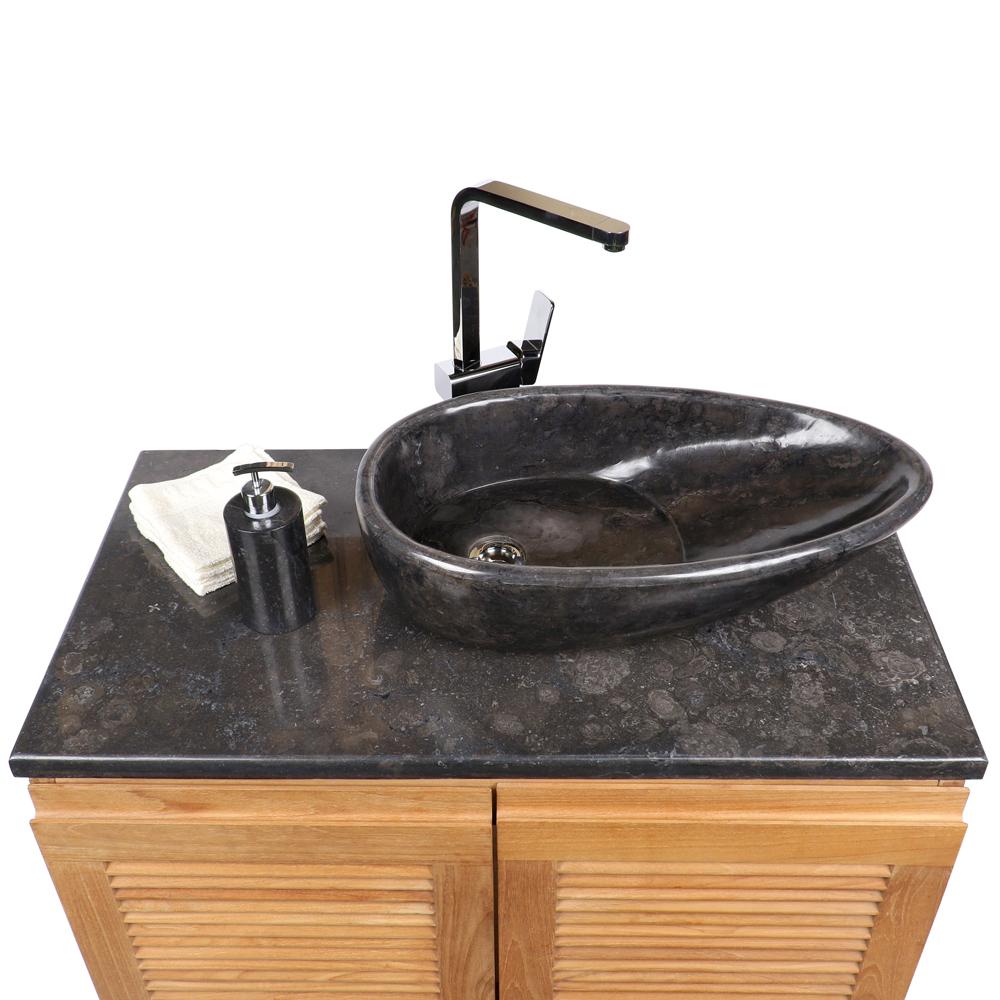 WOHNFREUDEN Marmor Naturstein Waschbecken Net Tropfen 60 cm schwarz Gäste WC