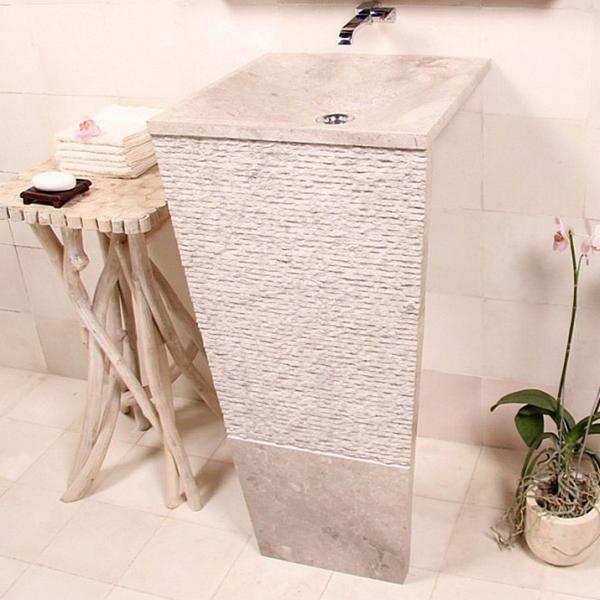 Marmor Waschtisch Säule SEVEN 40 cm creme