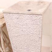WOHNFREUDEN Marmor Stand-Waschbecken PEDESTAL 40x90cm creme eckig Säule Gäste WC