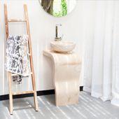 WOHNFREUDEN Marmor Waschtisch Säule Stand Aufstazwaschbecken 77 cm Gäste WC Bad