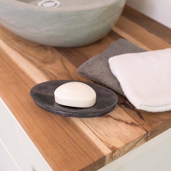 Marmor Seifenschale oval 17 cm schwarz