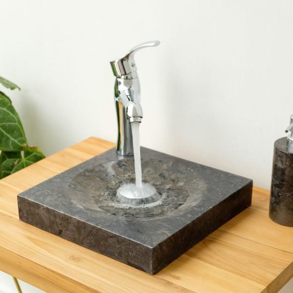 Marmor - Waschbecken TUMBA schwarz 30cm