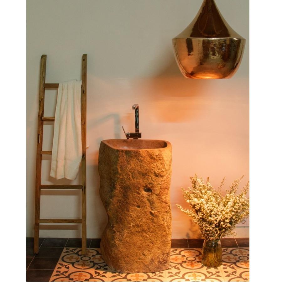 WOHNFREUDEN Holz Leiter Handtuchhalter 160 cm aus Teakholz Handtuchständer Bad