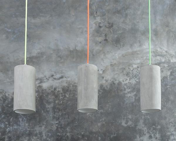 3er Set Beton Lampenschirm Zylinder weiß Gr. S