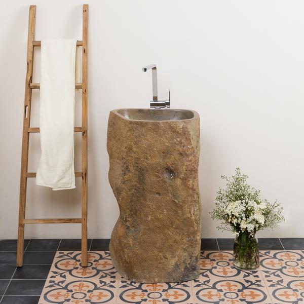 Große Auswahl Flußstein Waschtisch Säule 40 cm natur
