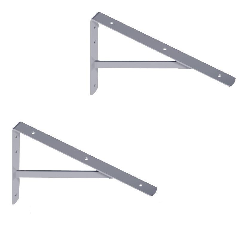 WOHNFREUDEN 2er Set Winkel für Waschtischplatten verzinkt 40x27 cm