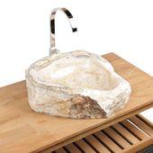 WOHNFREUDEN Onyx Stein-Waschbecken 47x42x16 cm oval Waschschale Bad Gäste WC