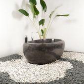 Marmor Badewanne 185x100x70 cm poliert schwarz Bild 5