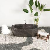 Marmor Badewanne 185x100x70 cm poliert schwarz Bild 2