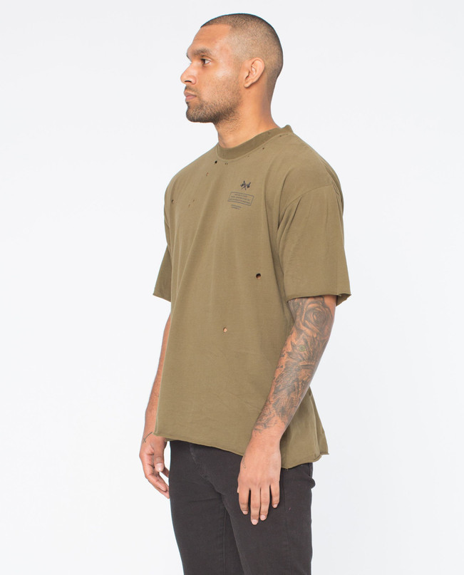 ORIGINS OLIVE DISTRESSED TEE – Bild 4
