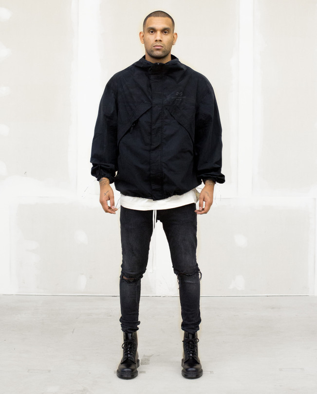DRP.7 BLACK FULL-ZIP WINDBREAKER