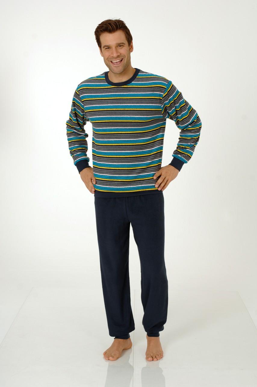 Herren Frottee Pyjama mit Bündchen Rundhals 53083