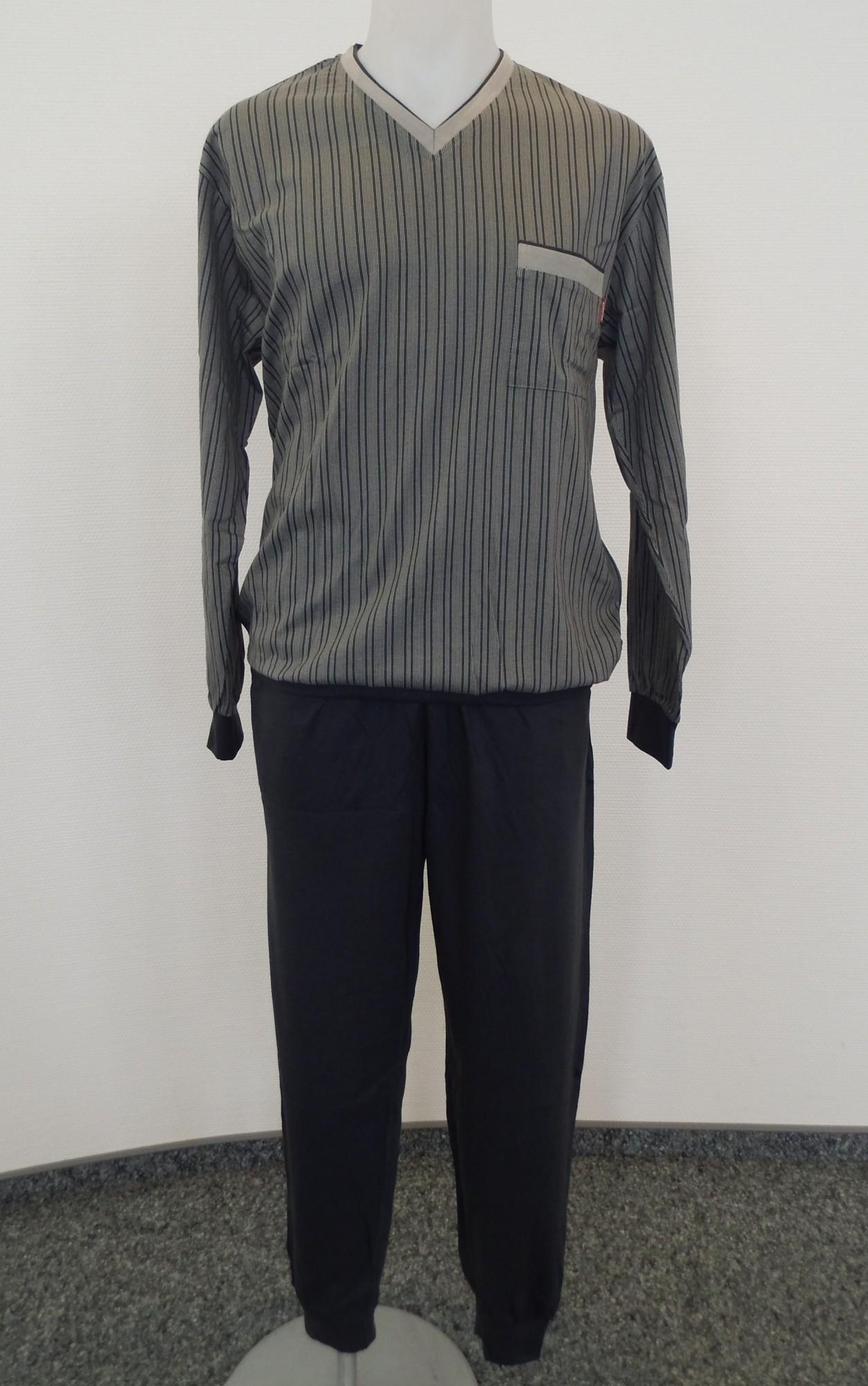 Herren Schlafanzug Pyjama mit Bündchen, gestreift, V-Hals 101 90 410 001