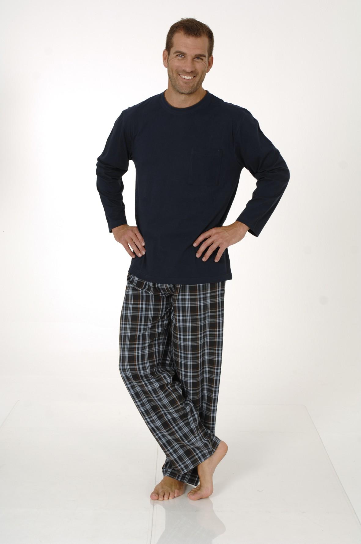 Herren Pyjama Mix& Match Schlafanzug, Hose gewebt, Oberteil Wirkware, 101 90 625