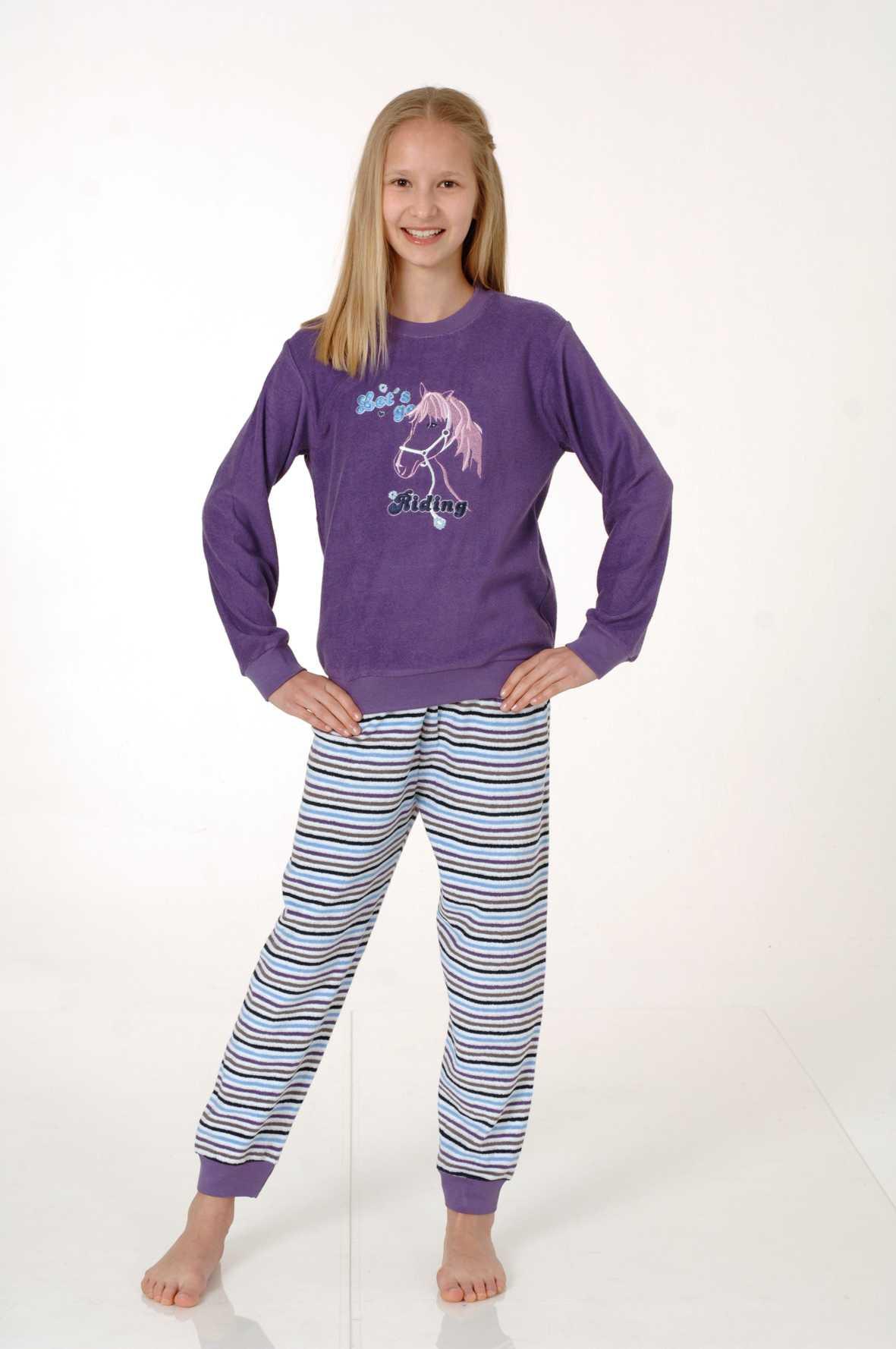 Mädchen Frottee Pyjama mit Bündchen, 401 93 848
