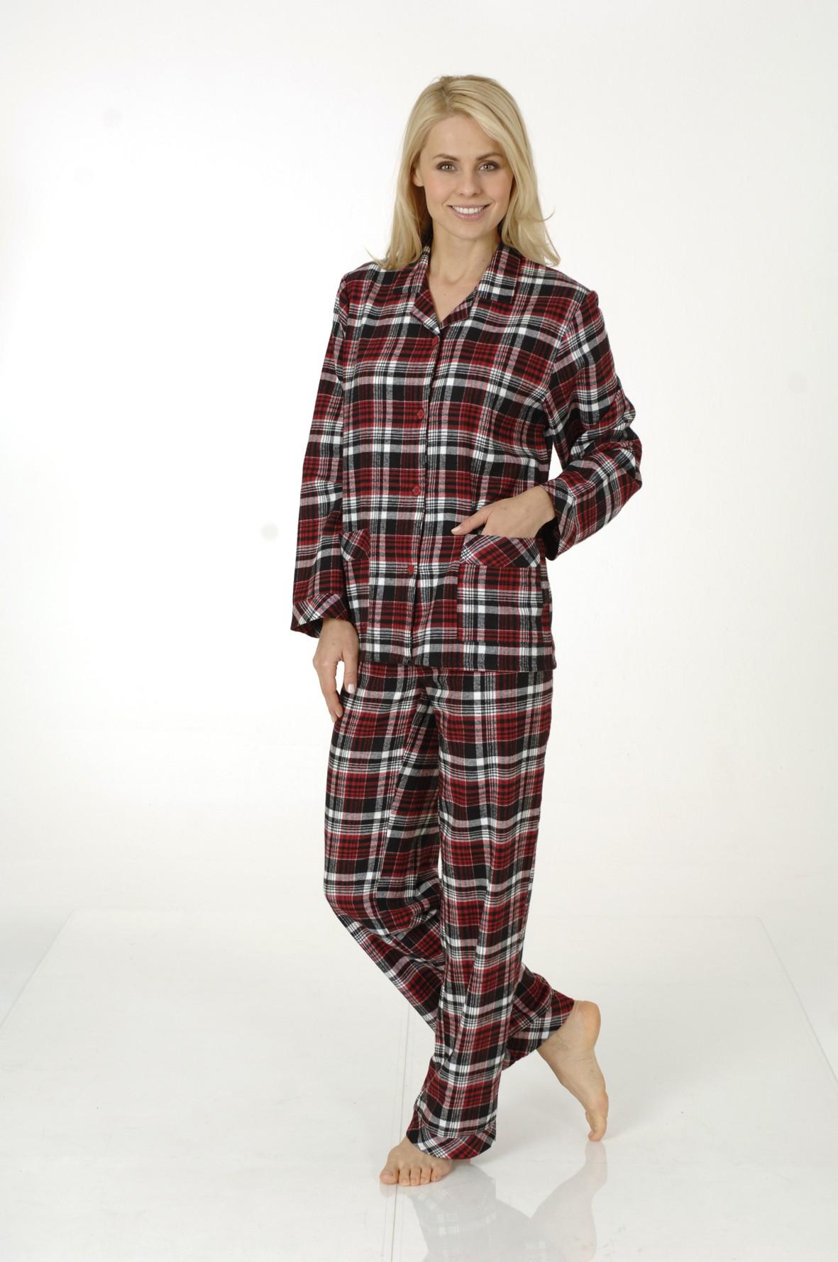 Damen Flanell Pyjama, Karo Look, 53402  001