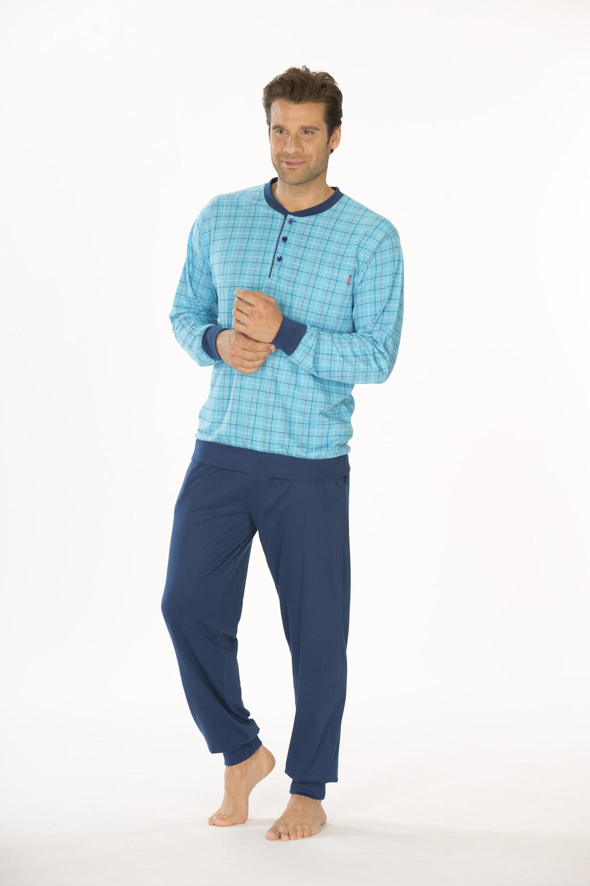 Herren Schlafanzug Pyjama mit Bündchen, auch Übergrössen, 151 101 90 411