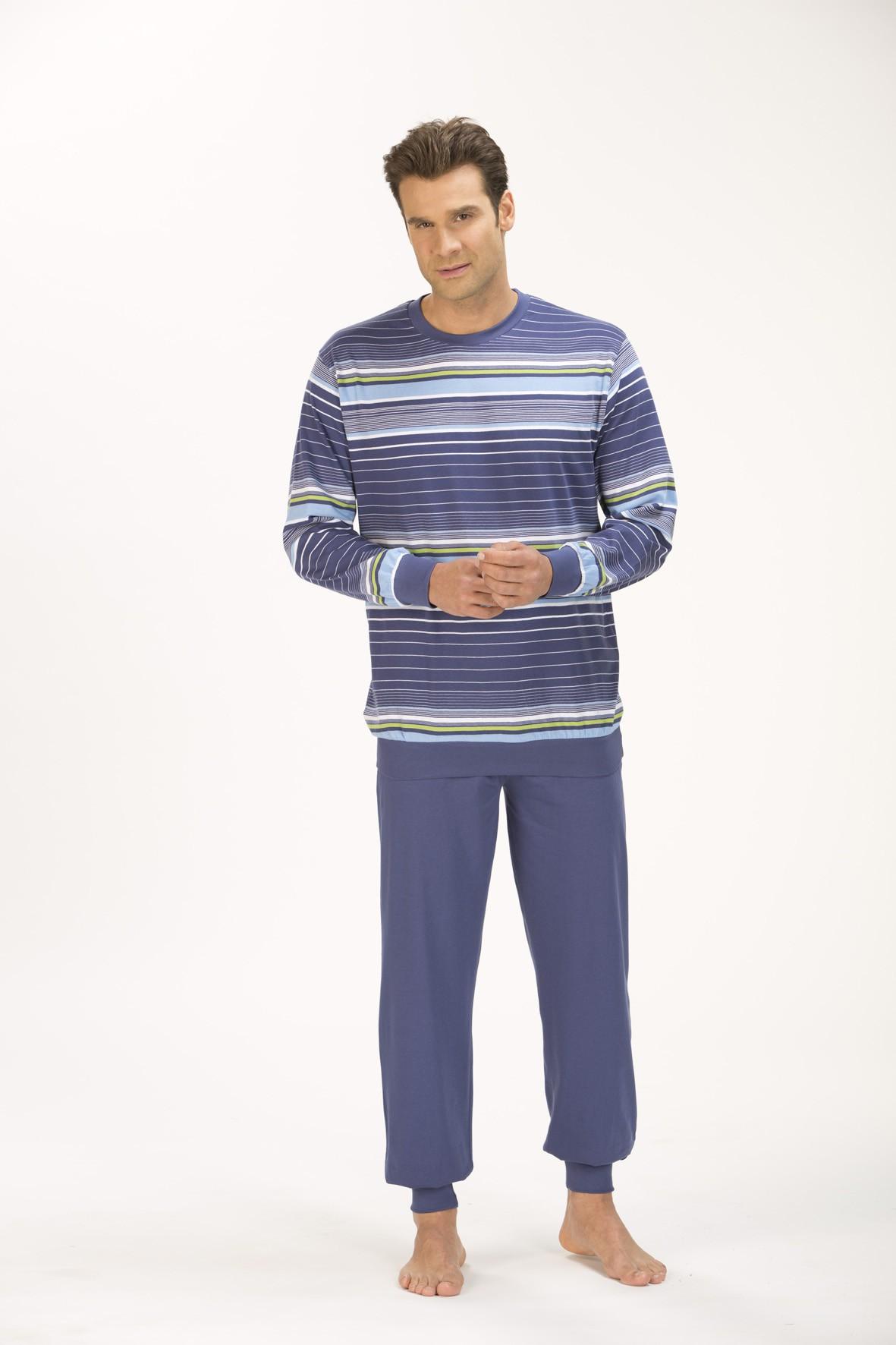 Herren Schlafanzug Pyjama mit Bündchen, 151 101 90 733