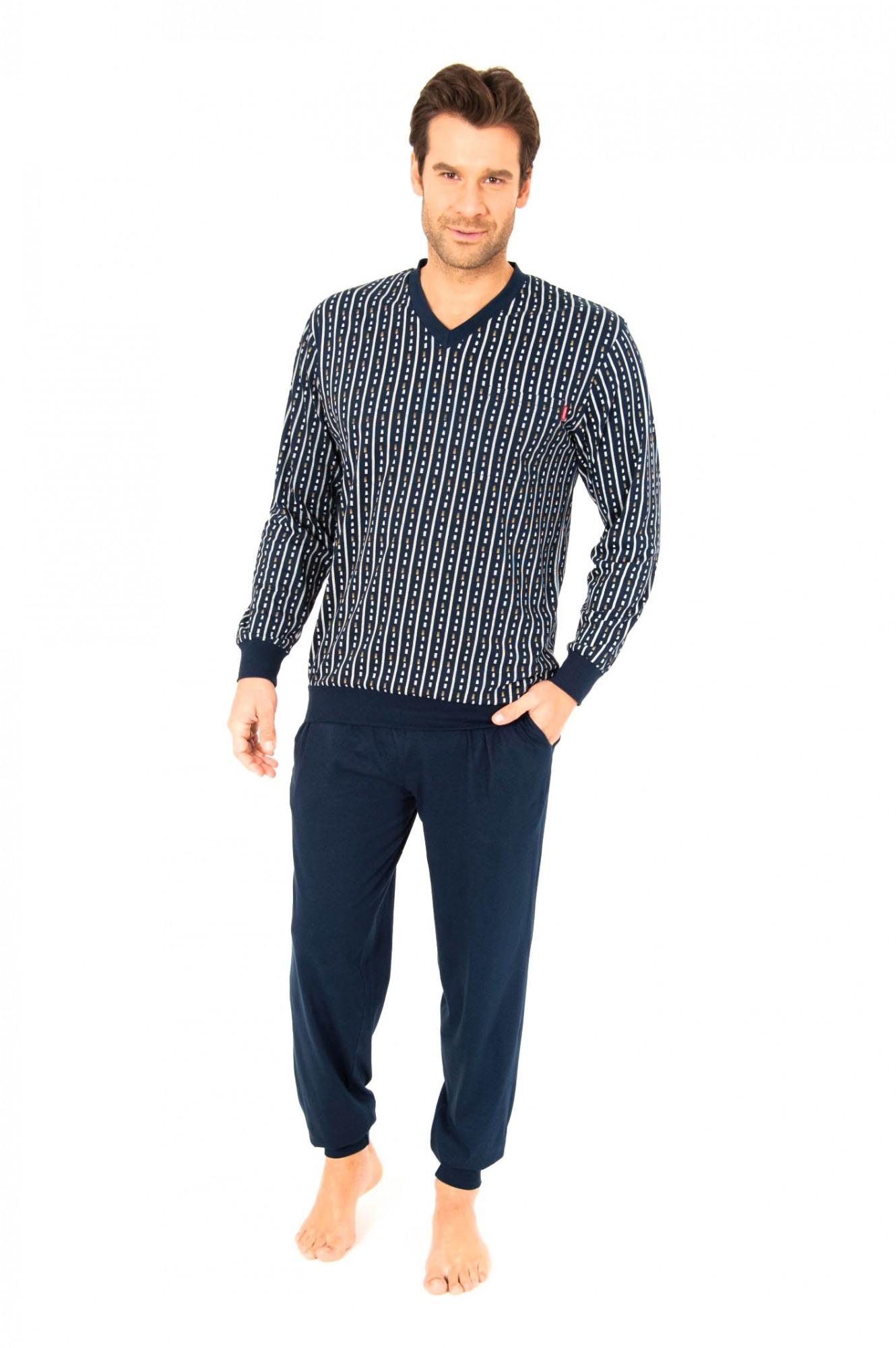 Schlafanzug lang Pyjama mit Bündchen, V-Hals, auch in Übergrössen, 251 101 90 470