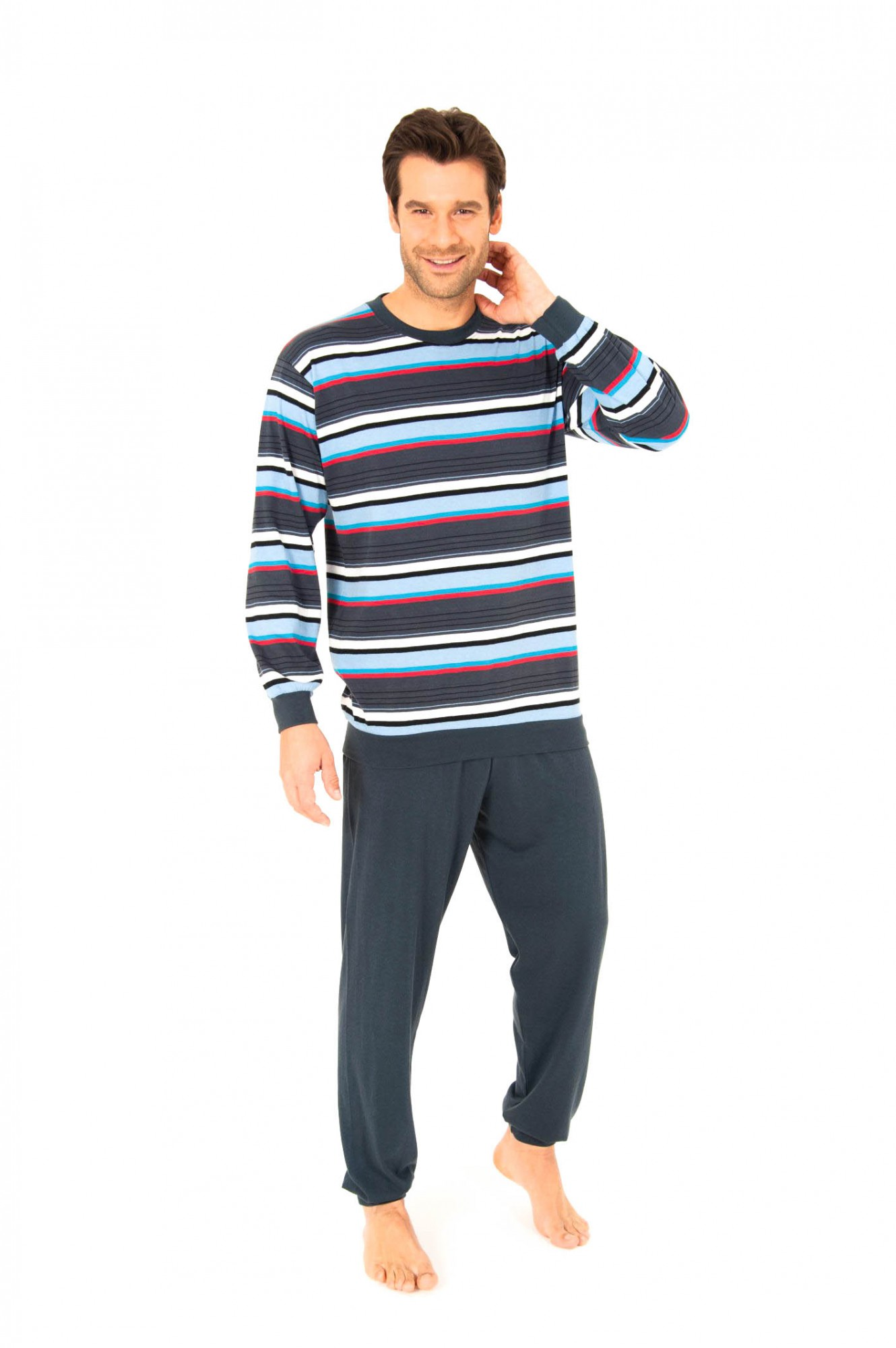Pyjama lang, Rundhals, mit Bündchen, Ringeldesign, 251 101 90 745