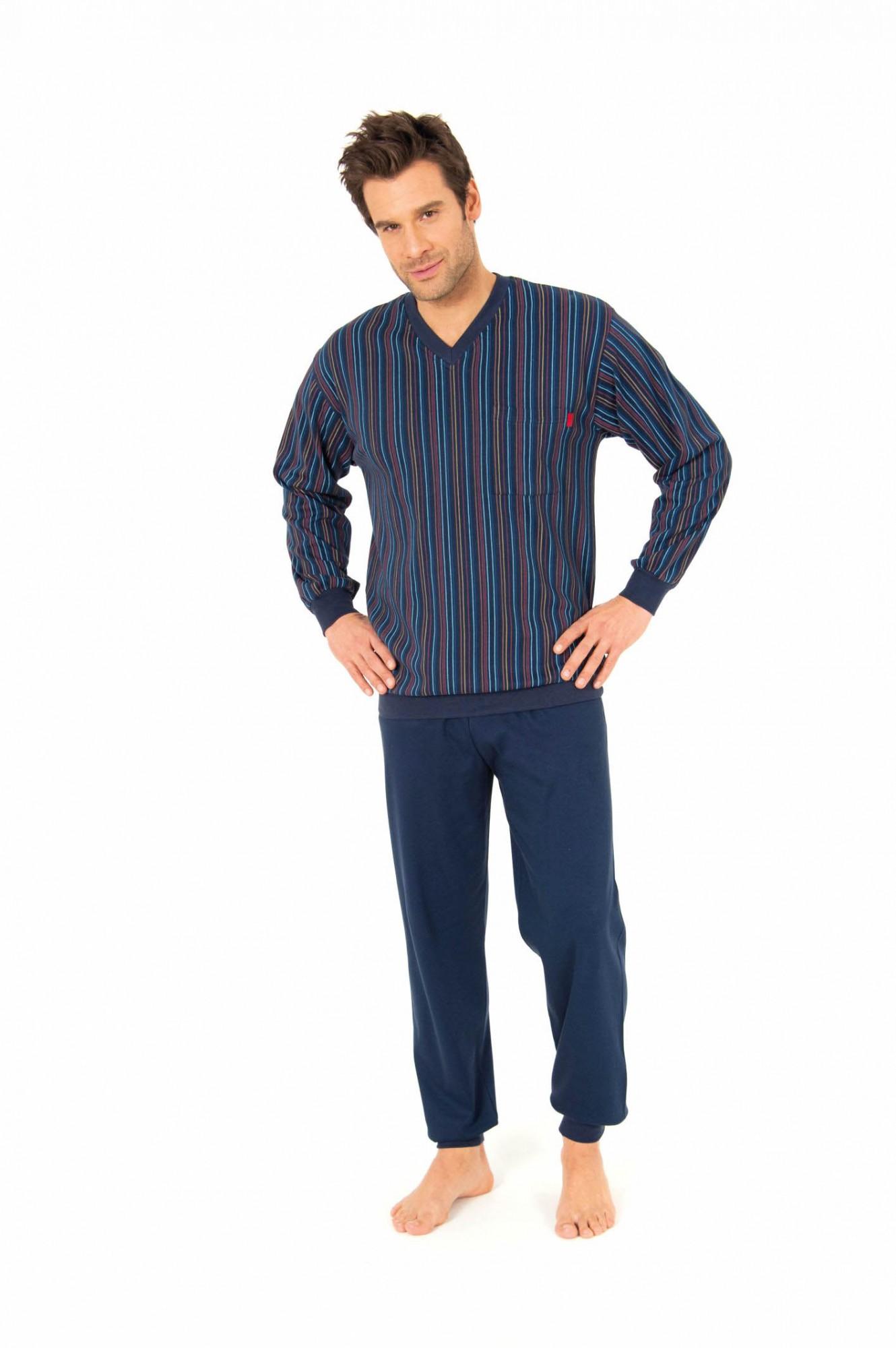 Pyjama lang mit Bündchen, Interlock, gestreift, 251 101 96 450