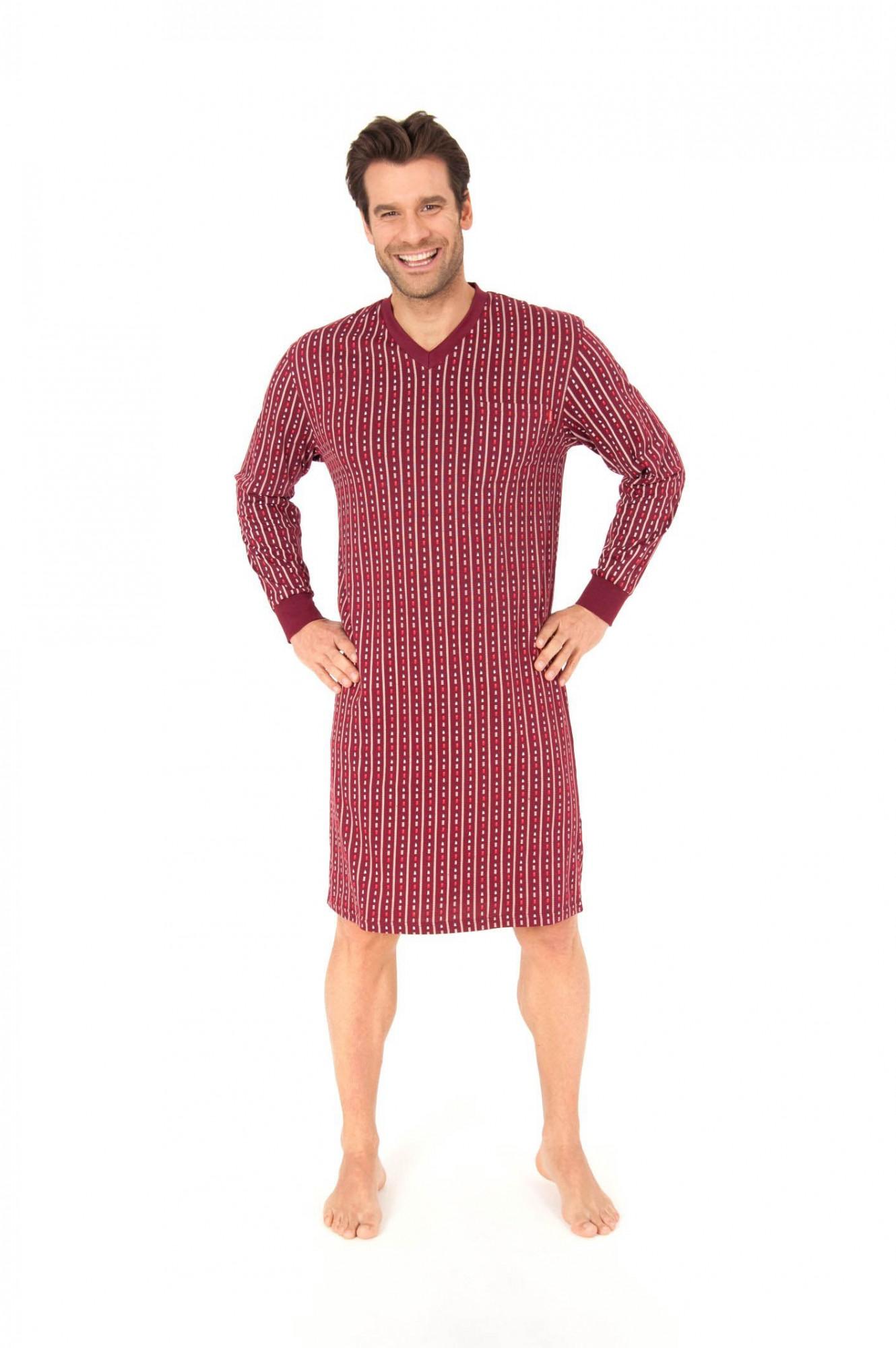Nachthemd langarm, auch in Übergrössen, V-Hals, Single Jersey, 251 110 90 470
