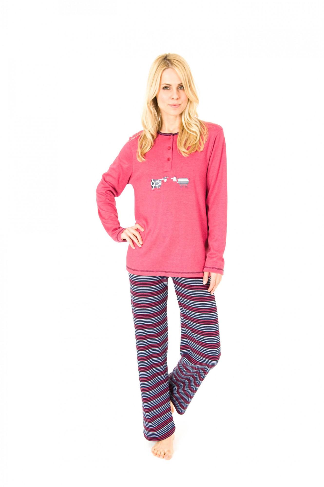 Pyjama langarm Kuschel Interlock - Hose geringelt 251 201 96 900 001