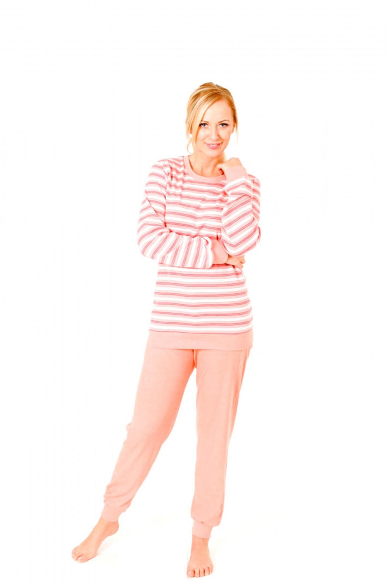 Pyjama mit Bündchen - Kuschel Interlock Schlafanzug – Rundhals  55255 001