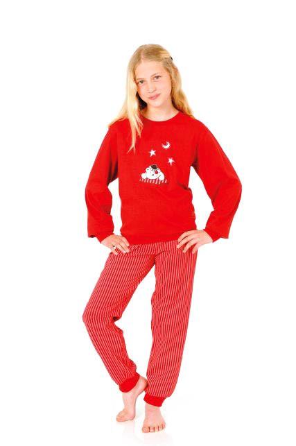 Mädchen Pyjama langarm mit Bündchen – gestreifte Hose 251 401 90 120