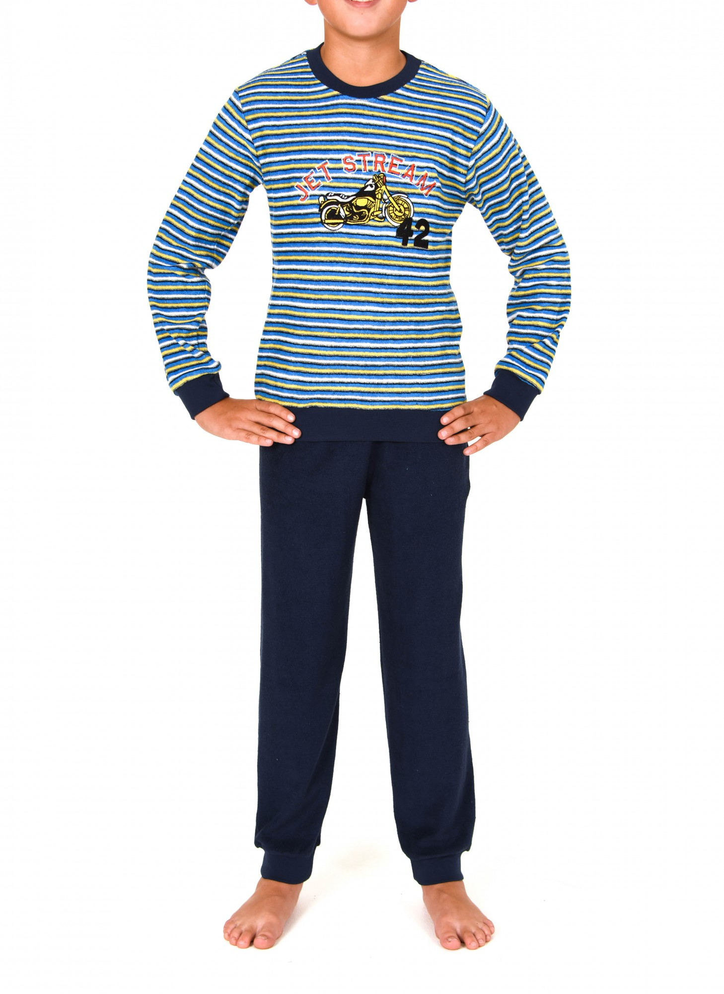 Jungen Frottee Pyjama langarm mit Bündchen – 251 501 93 220 – Bild 1