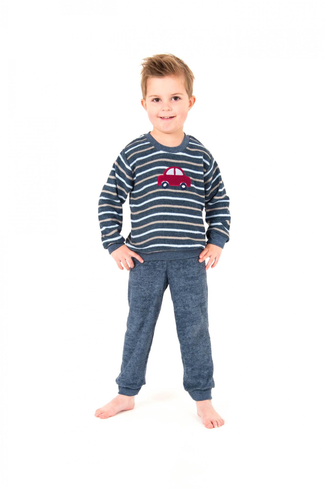 Jungen Frottee Pyjama mit Bündchen - langarm – Grössen 86 bis 110 – 251 801 93 101 001