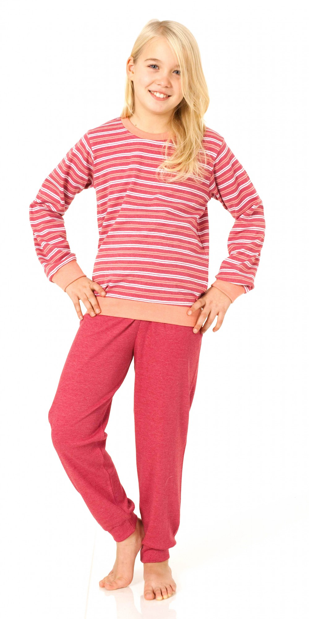 Mädchen Pyjama lang – Kuschel Interlock Schlafanzug mit Bündchen – 55358