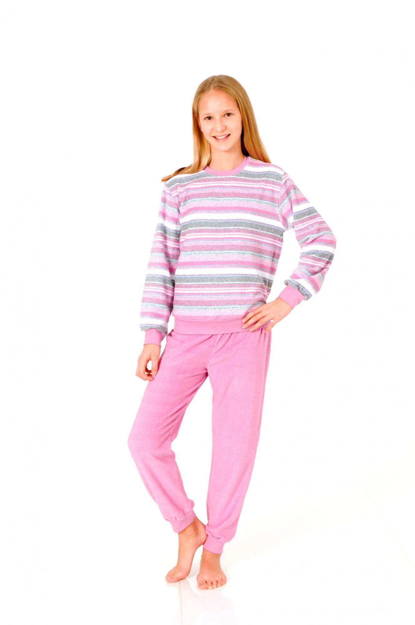 Mädchen Frottee Pyjama lang – Schlafanzug mit Bündchen – 55348 001