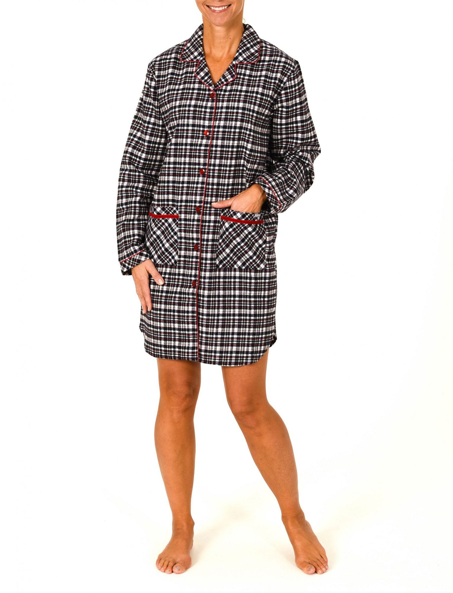 Damen Flanell Nachthemd langarm – auch in Übergrössen – 56279