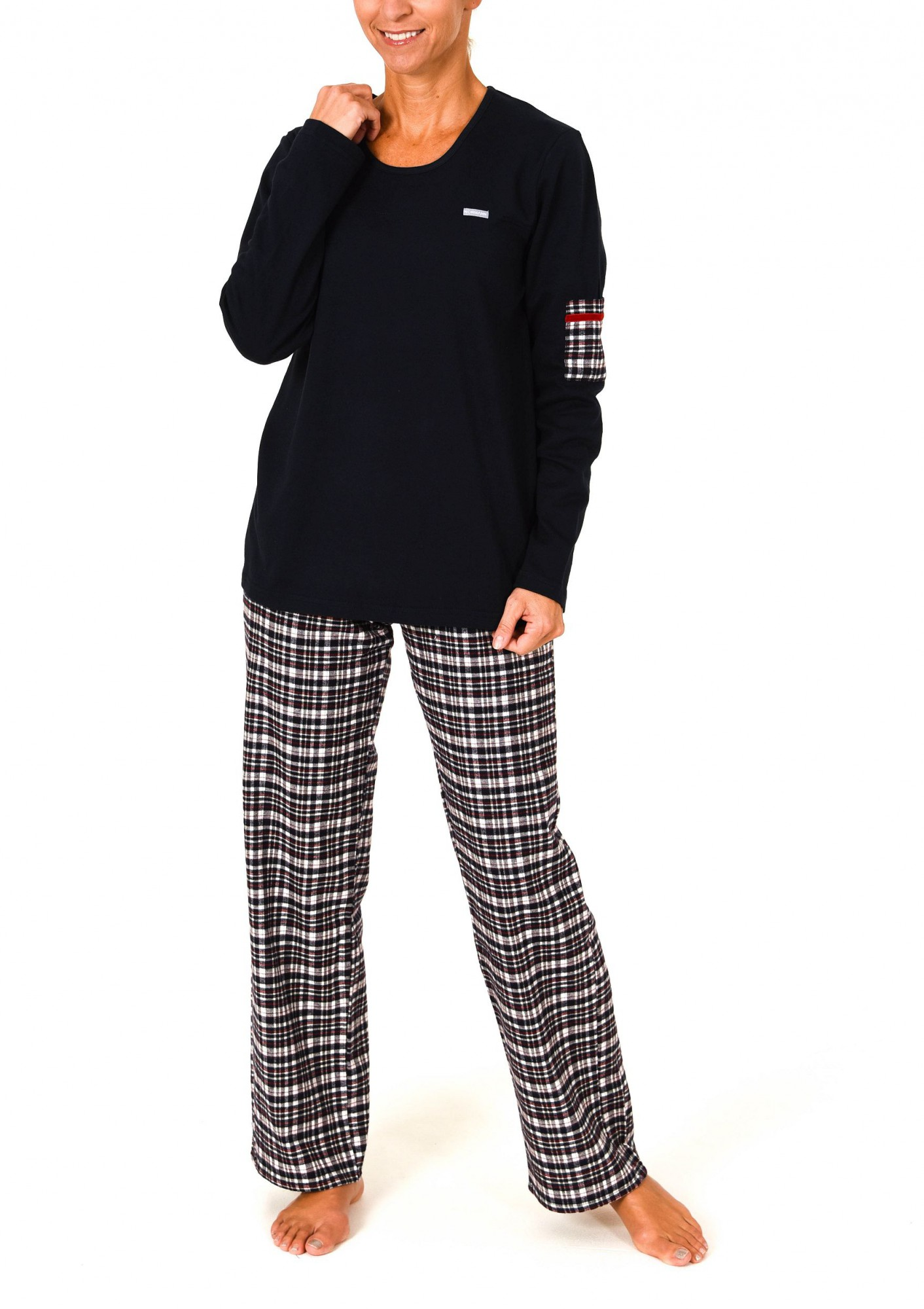 Damen Flanell Pyjama Mix & Match – Hose Flanell Oberteil Interlock -auch in Übergrössen