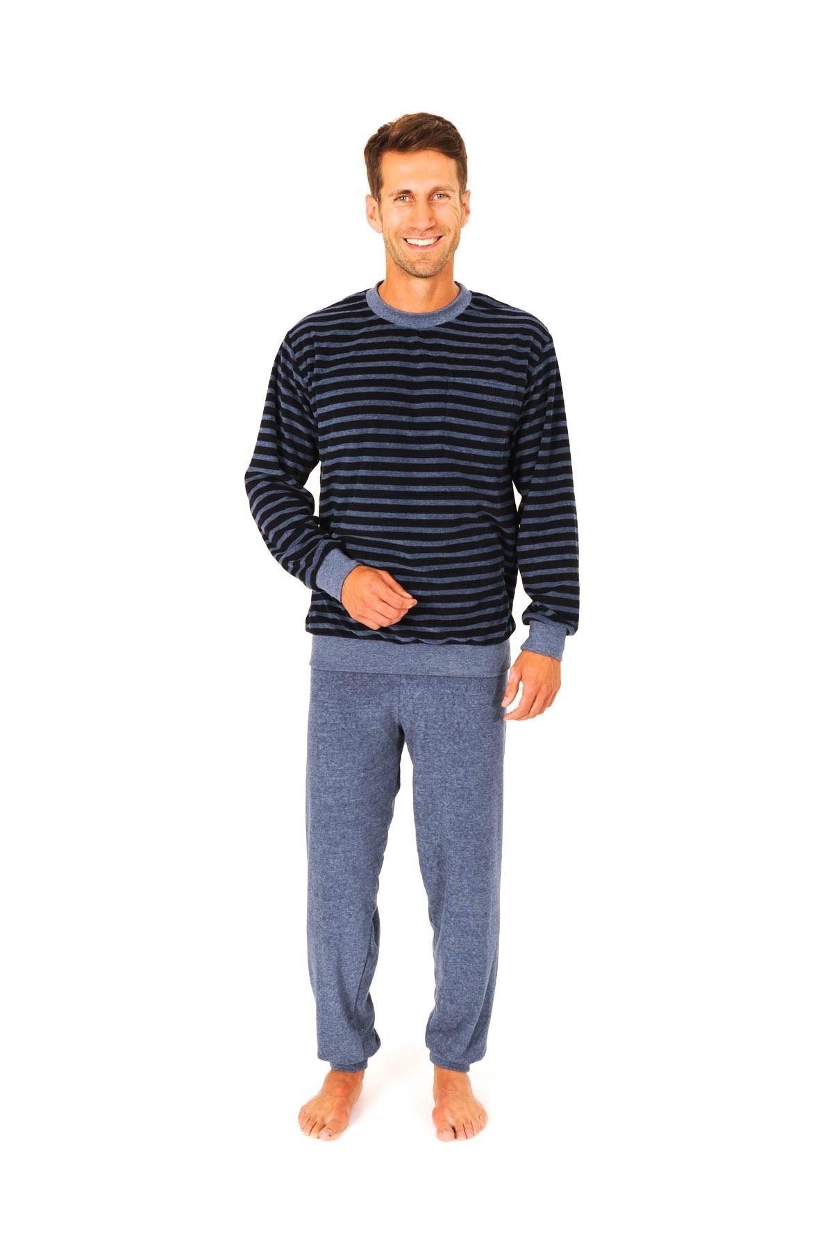 Herren Frottee Pyjama Schlafanzug lang mit Bündchen – Rundhals – 56311