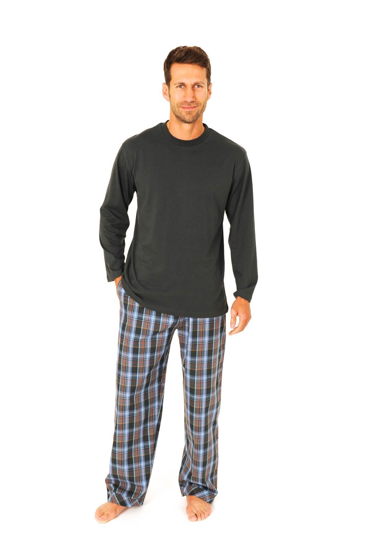 Herren Pyjama Mix & Match Schlafanzug - Hose gewebt, Oberteil Wirkware 55674
