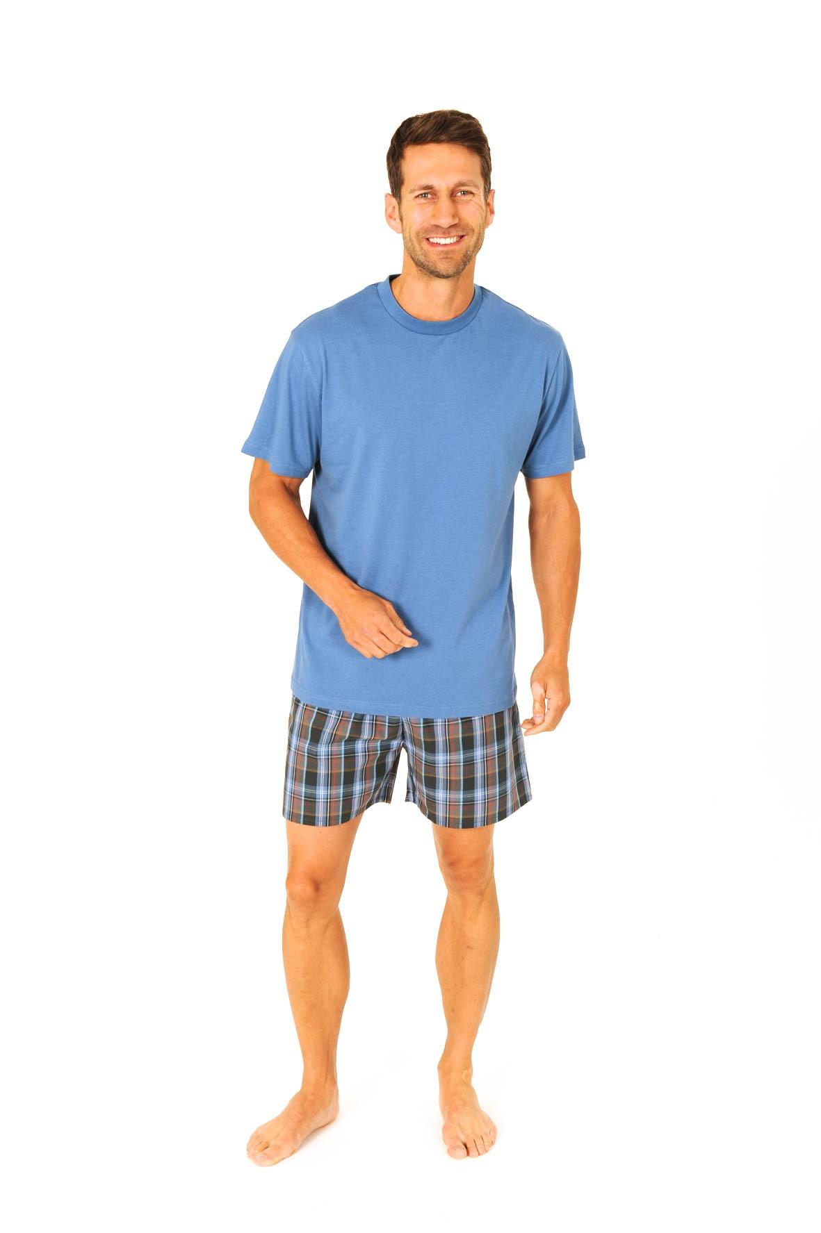 Herren Pyjama Shorty Mix & Match - Schlafanzug kurz - Hose gewebt, Oberteil Wirkware