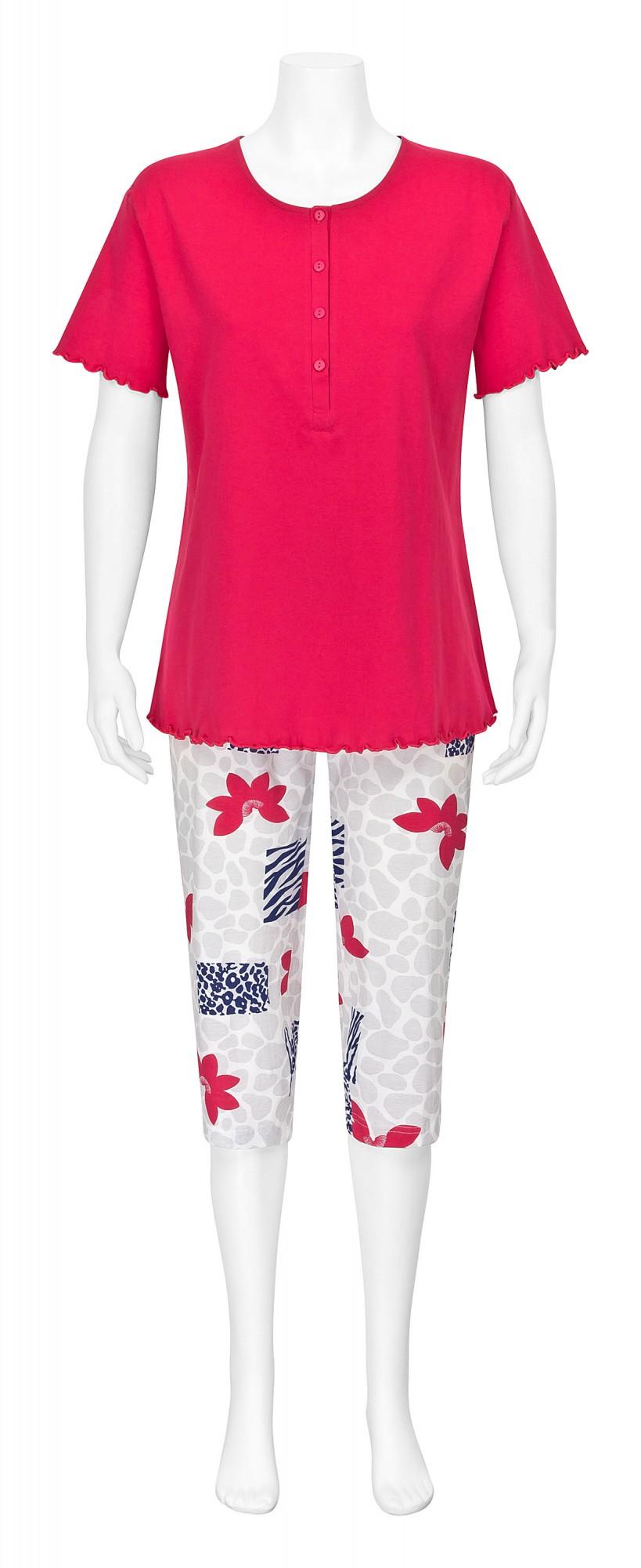 Damen Capri Pyjama kurzarm Schlafanzug mit Knopfleiste – 161 204 90 815 – Bild 2