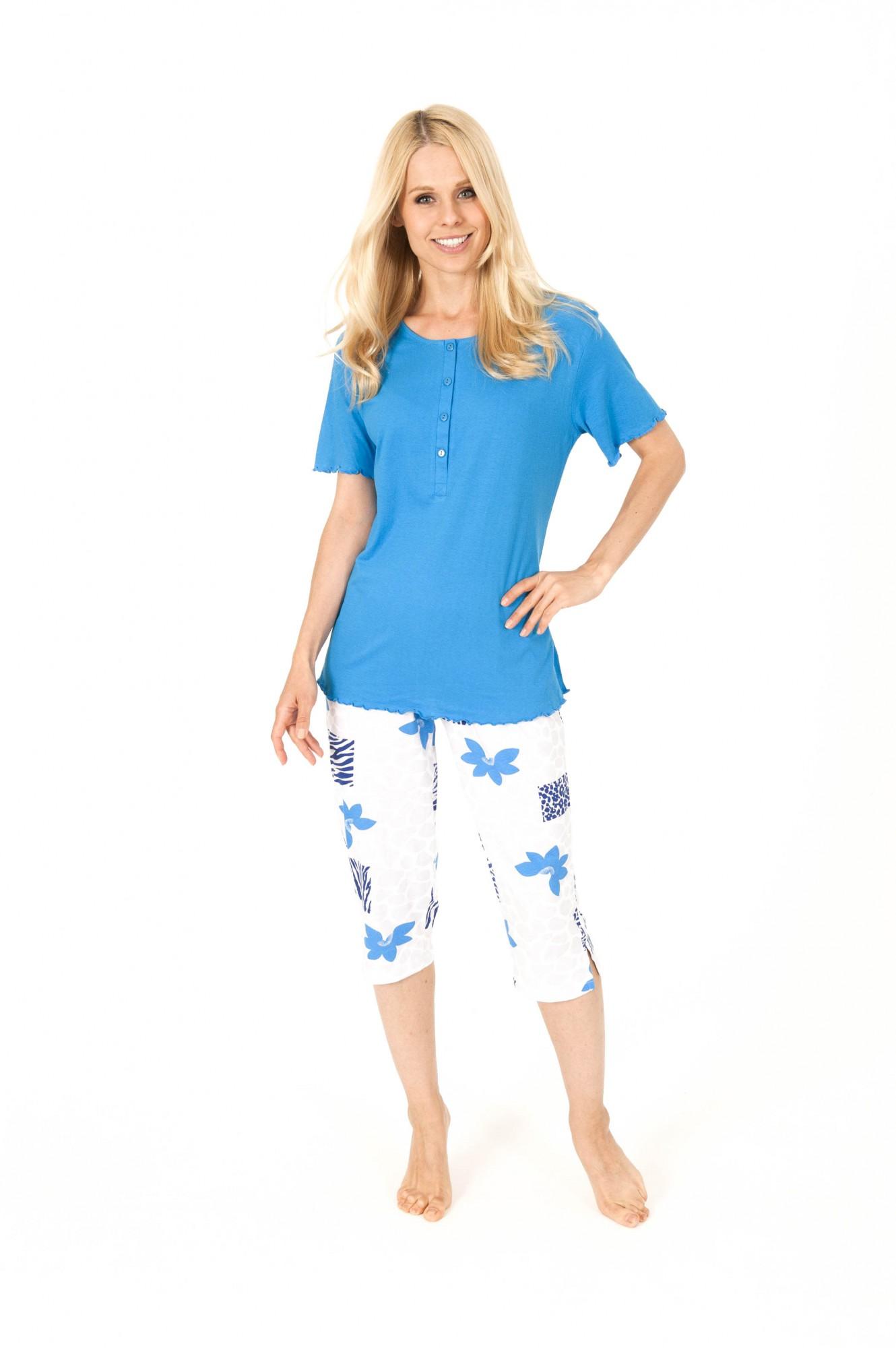 Damen Capri Pyjama kurzarm Schlafanzug mit Knopfleiste – 161 204 90 815 001