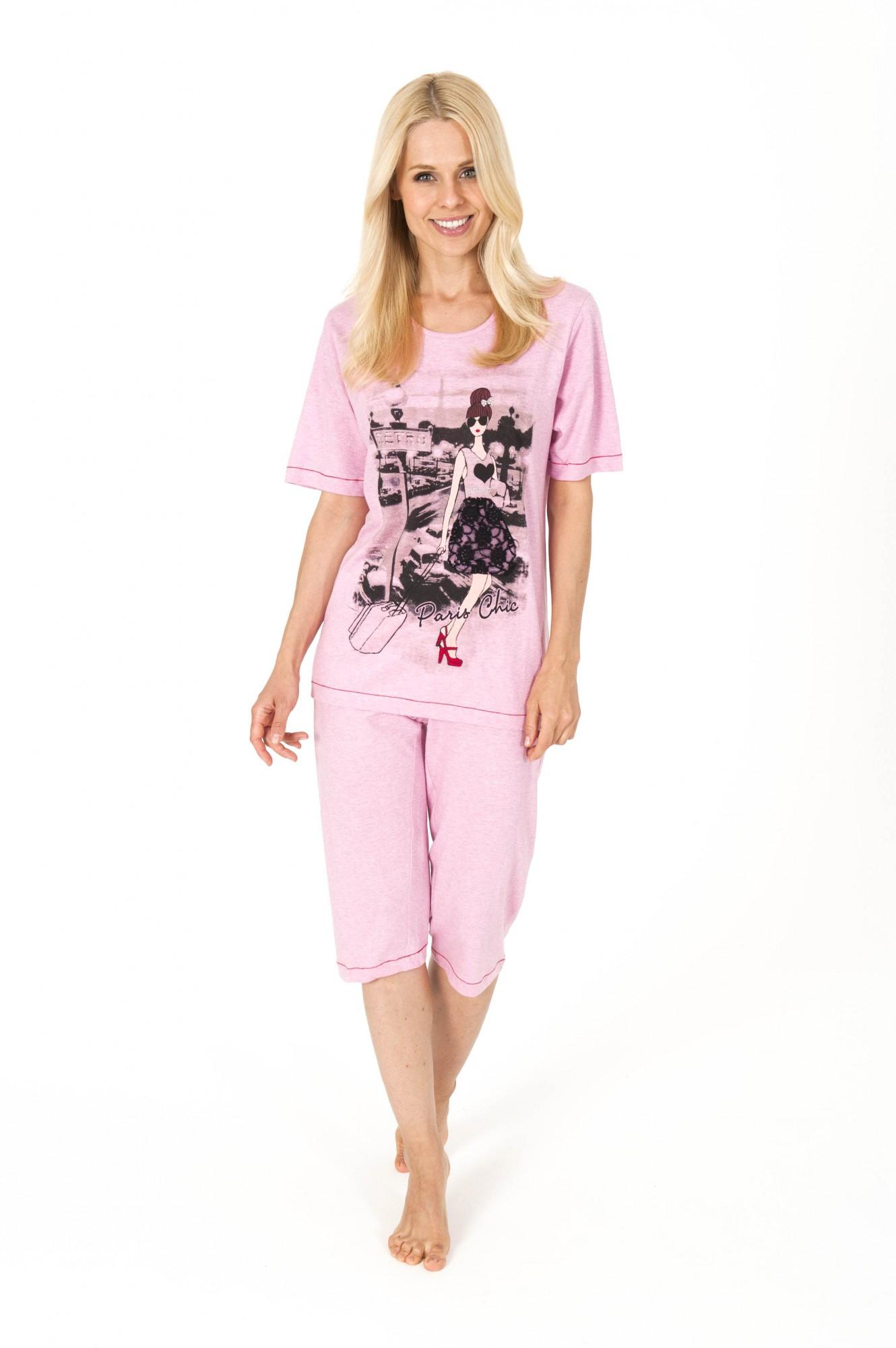 Zauberhafter Damen Capri-Pyjama aus 100 % Baumwolle, 161 204 90 900