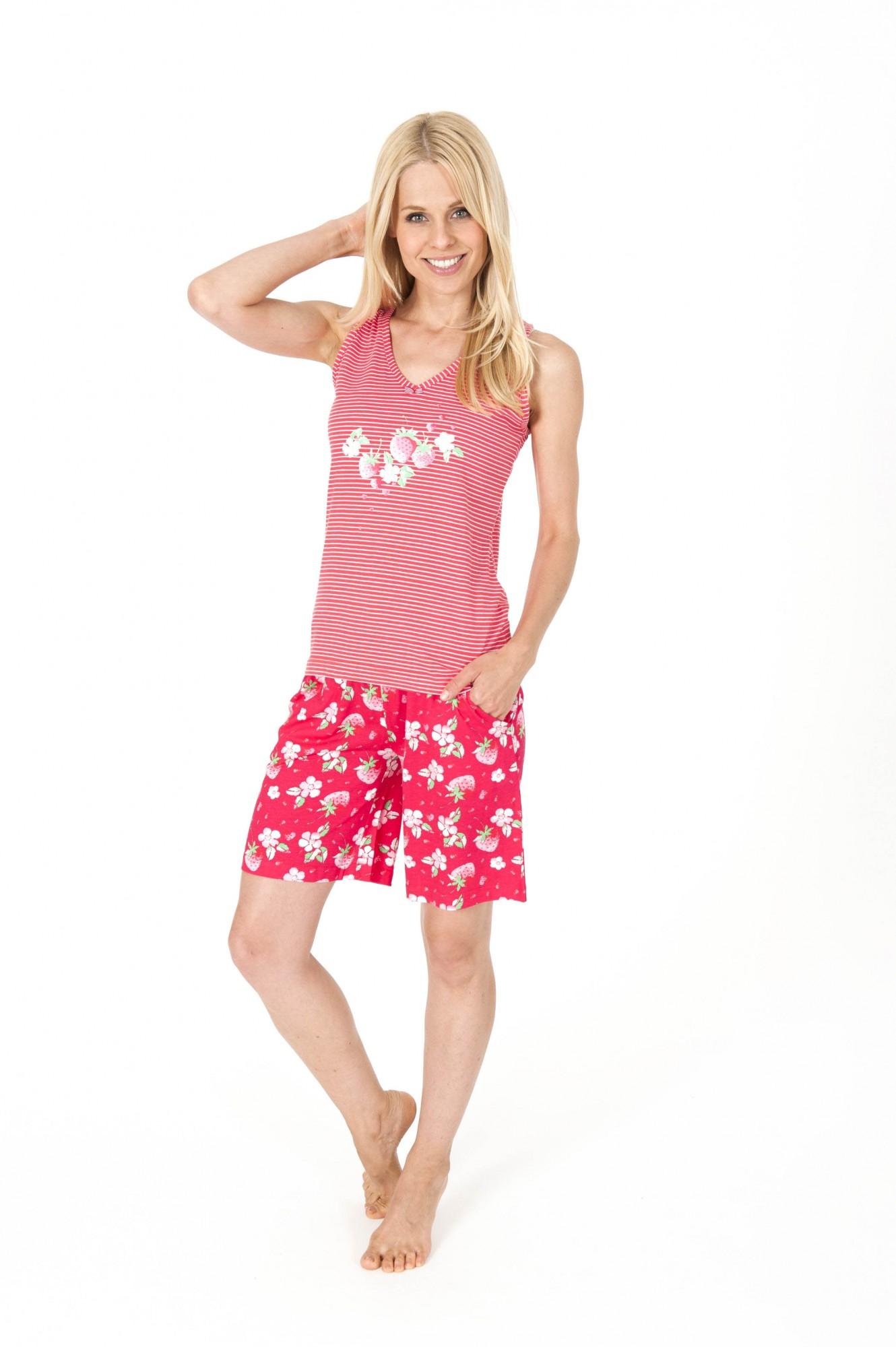 Damen Shorty Pyjama mit Achsel Top - auch in Grösse 32/34 und Übergrösse bis 60/62  001
