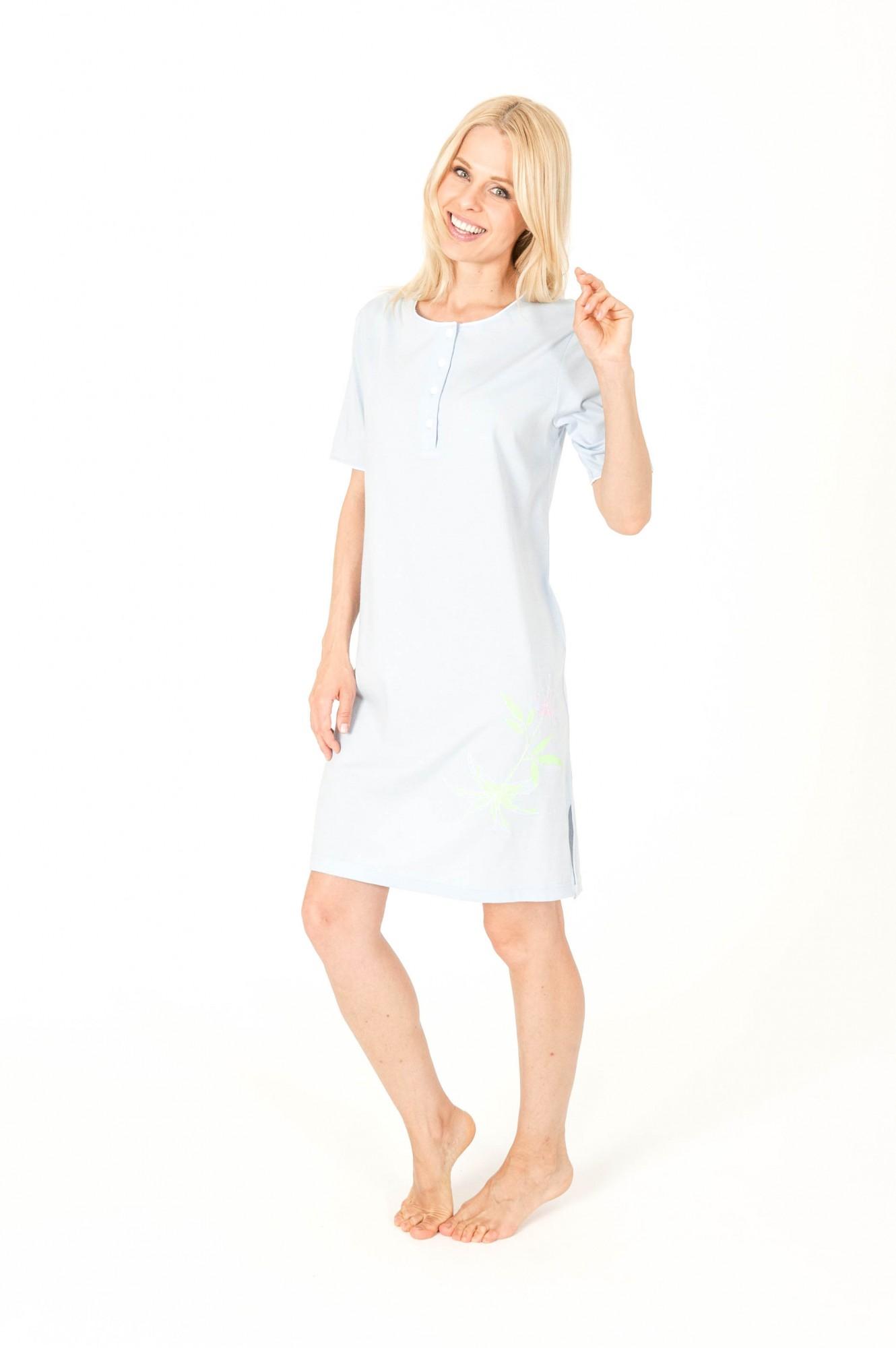 Damen Kurz Nachthemd mit Knopfleiste 95 cm Länge – 161 213 90 864 – Bild 1